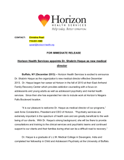 Horizon Health Services appoints Dr. Shabrin Haque as new