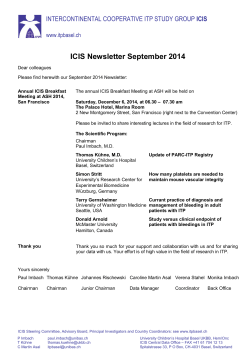 ICIS Newsletter September 2014 - Intercontinental Cooperative ITP