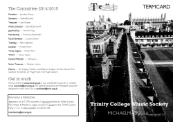Michaelmas Term 2014 - Trinity College Music Society