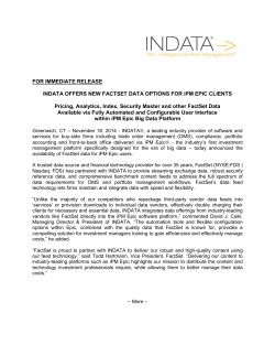 INDATA Offers New FactSet Data Options for iPM Epic Clients