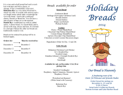Holiday Breads - Center for Holocaust and Genocide Studies