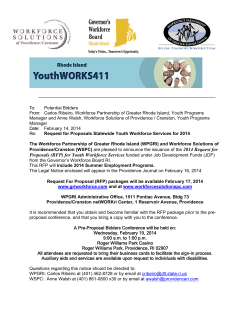 Proposals (RFP) for Youth Workforce Services funded under Job