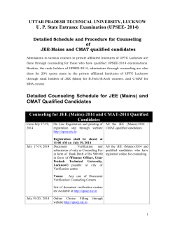 Detailed Schedule and Instructions for counseling of JEE/CMAT