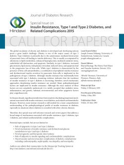 Journal of Diabetes Research Special Issue on Insulin Resistance