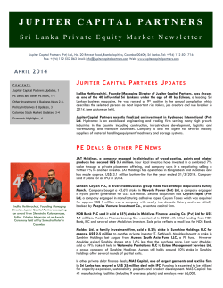 April 2014 - Jupiter Capital Partners