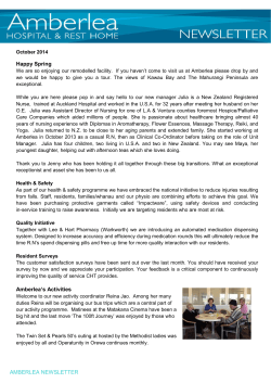 Amberlea Hospital and Rest Home Newsletter October 2014