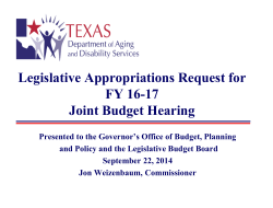 Legislative Appropriations Request for FY 16
