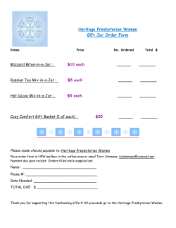 Gift Jar order form - Heritage Presbyterian Church