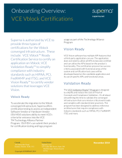 Onboarding Overview: VCE Vblock Certifications