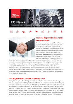 Ace Hires Regional Environmental Risk Underwriter AJ Gallagher