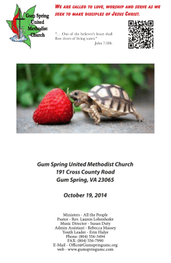 Bulletin 2014 10-19 - Gum Spring United Methodist Church