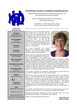 NCWQ Newsletter - National Council of Women of Queensland Inc