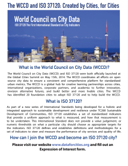 The WCCD and ISO 37120 - Global City Indicators Facility
