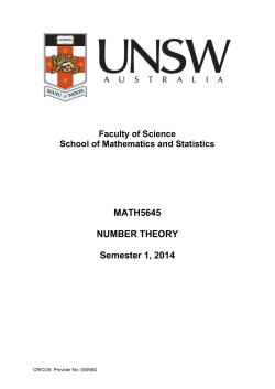 MATH5645 NUMBER THEORY Semester 1, 2014