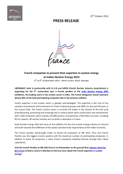Press release French Pavilion at INE 2014 (PDF)