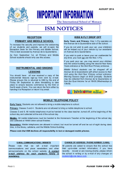 ISM Important Information and Dates - August 2014