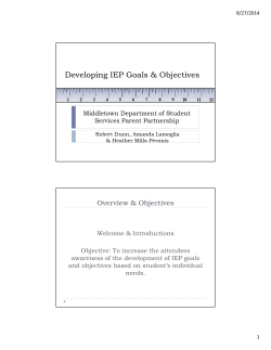 IEP Goals and Objectives Presentation May 28, 2014