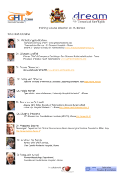 Training Course Director: Dr. M. Bartolo TEACHERS COURSE Dr