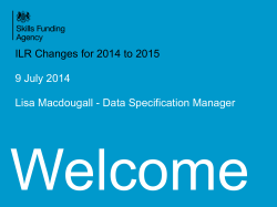 ILR Changes for 2014 to 2015 9 July 2014 Lisa Macdougall