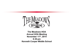 The Meadows HOA Annual HOA Meeting November 11th, 2014 6