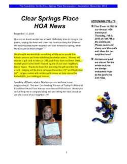 the November 2014 Clear Springs Place Newsletter