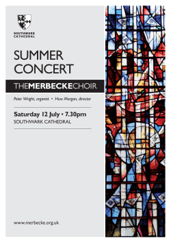 Programme 2014.indd - Merbecke Choir, Southwark Cathedral