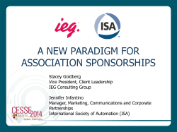 A NEW PARADIGM FOR ASSOCIATION SPONSORSHIPS