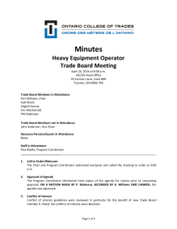 Heavy Equipment Operator - Ontario College of Trades