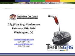 CTχ (Coal to χ) Conference February 26th, 2014 Washington, DC