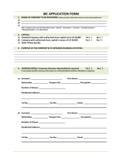 IBC APPLICATION FORM - Belize Offshore Formation