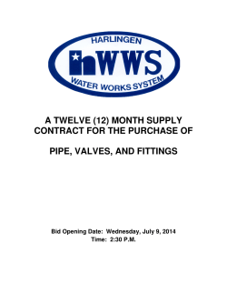 pipe, valves, and fittings - Harlingen Water Works Systems