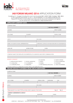 IAB FORUM MILANO 2014 APPLICATION FORM