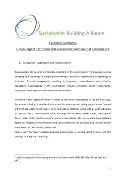 Green Impact Environmental assessment and financial