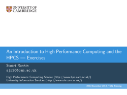 Exercises - High Performance Computing Service
