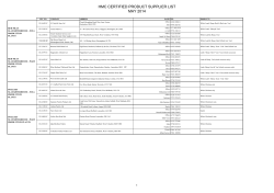HMC Certified Product Suppliers List