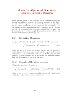 Module 35: Algebra of Operators Lecture 35: Algebra of