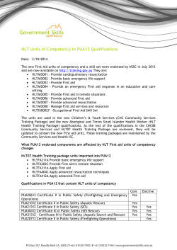 HLT Units of Competency in PUA12 Qualifications