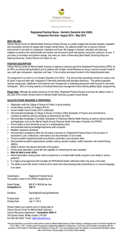 Registered Practical Nurse - Geriatric Dementia Unit (GDU