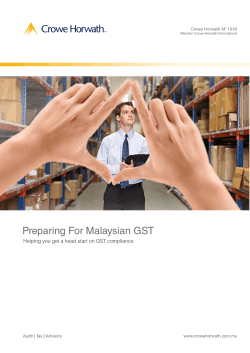Preparing For Malaysian GST - Crowe Horwath International