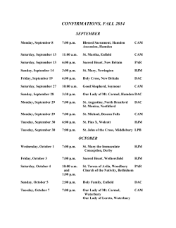 Fall Confirmation Schedule