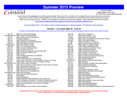 Course Preview Summer 2015