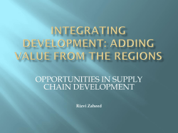 Mr. Rizvi Zaheed - Opportunities in Supply Chain Development