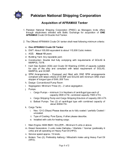 Acquisition of AFRAMAX Tanker
