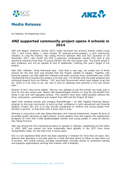 ANZ supported community project opens 4 schools in 2014 (PDF