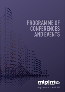 PROGRAMME OF CONFERENCES AND EVENTS