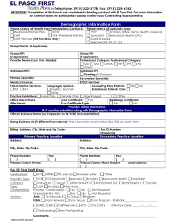 Demographic Information Form - El Paso First Health Plans Inc.