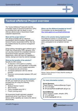 Tactical eReferral Project overview