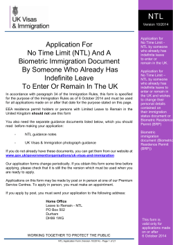 Application For No Time Limit (NTL) And A Biometric