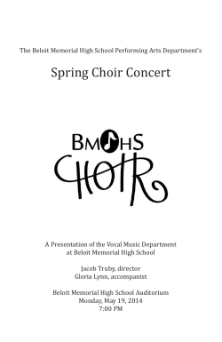 Spring Choir Concert - School District of Beloit
