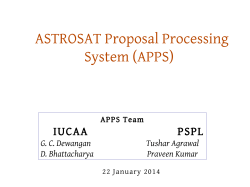 ASTROSAT Proposal Processing System (APPS)